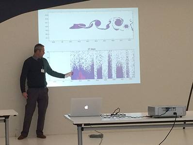 Andrew Dale demonstrates output from modelling sediment plume dispersal in the deep ocean
